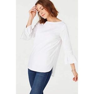 J.Jill Ivory 3/4 Cinched Ruffle Bell Sleeve Blouse